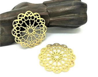 2 large pendants connectors round mandala / 40mm gold rosette