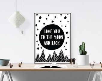 To The Moon And Back Print | Quote Print, Nursery Print, Prints, Monochrome, Black and White Print, Scandinavian, Scandi Design, Modern