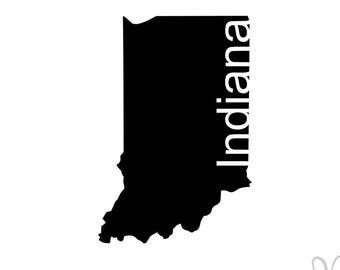 Indiana State Silhouette with word Indiana - Instant Download File - svg / jpg / Studio3 / PDF