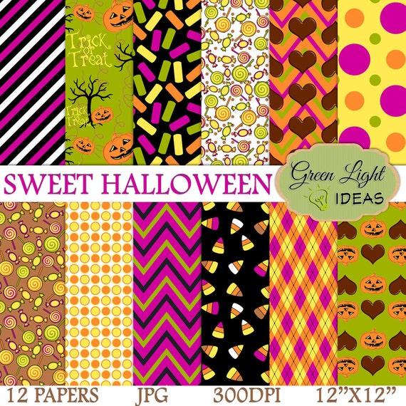 Sweet Halloween Digital Papers Halloween Scrapbook Paper Halloween