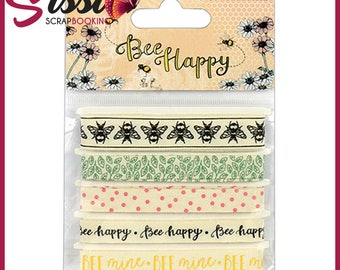 "printed ribbons 100% cotton collection ""bee happy"" 5x1m bee patterns"