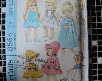"""vintage 1960s McCalls sewing pattern 8564  baby doll wardrobe for 17""""-20"""" dolls"""