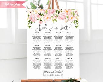 Printable Blush Pink Floral Seating Chart Board, Wedding Seating Plan PDF Template, 24x36 18x24 Large Poster sign, DIY Instant Download #05