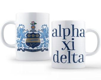 AXiD Alpha Xi Delta Crest Mug Sorority Coffee Mug
