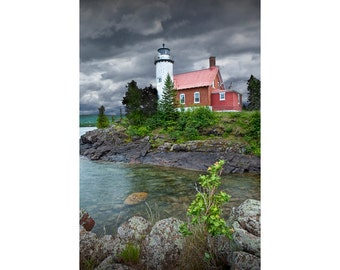 Eagle Harbor Lighthouse on the Keewenaw Peninsula in Michigan's Upper Peninsula No. 4572 -  a Lighthouse Seascape Photo
