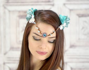 Elven Crown, Elven Headdress, Aqua Blue, Blue Fairy Flower Crown, Fantasy Headpiece, Headdress, Cosplay, Fairy Costume Headpiece, Woodland