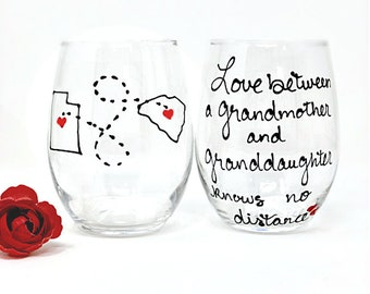 Grandmother and Granddaughter Wine Glass, Long Distance Wine Glass, Mothers Day Gift for Grandma, Mother's Day Gift, Grandma Granddaughter