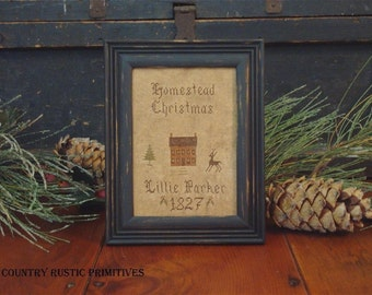Primitive Homestead Christmas 1827 Sampler Cross Stitch E Pattern PDF