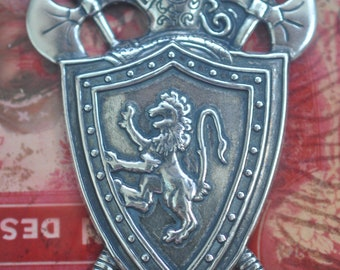 Brass Shield with Axes, Sterling Silver Finish, Medieval Brass Stampings Made in the USA