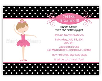 Modern Ballerina Birthday Invitation---Choose Ballerina & Background (You Print)