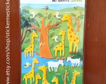 Fuzzy Animal sticker, Safari sticker, Giraffe sticker, Fuzzy Giraffe sticker, Funny Sticker World 38