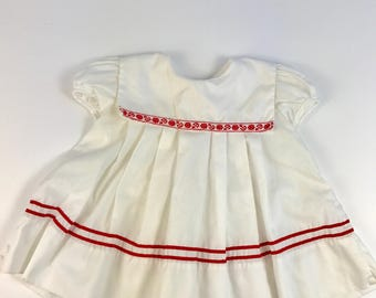 Vintage White Baby Girl's Sailor Dress Size 12 Months
