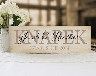 Family Name Sign, Established Sign, Personalized Name Plaque, Housewarming or Wedding Gift