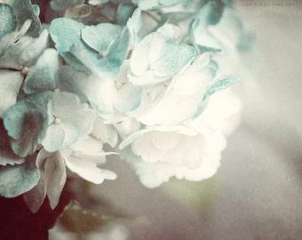 Soft Teal Decor, Flower Print or Canvas Art, Teal Hydrangea Print, Flower Print, Mint, Teal, Cream, Botanical Art, Flower Art.