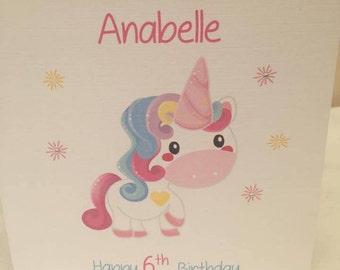 Unicorn Birthday Card Sister, Birthday Card, 5th, 6th, 8th, 10th, 18th, 21st, 30th, 40th, 50th Rainbow Unicorn, Daughter Unicorn Card