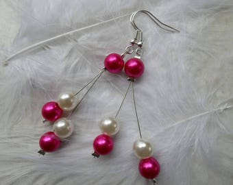 Dangling earrings pearls Pearly Fuchsia and ivory jewelry bridal wedding ceremony