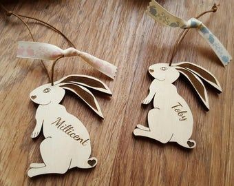Personalised Easter Bunny Rabbit Engraved Wood Wooden Gift Decoration Hanger Hare Spring