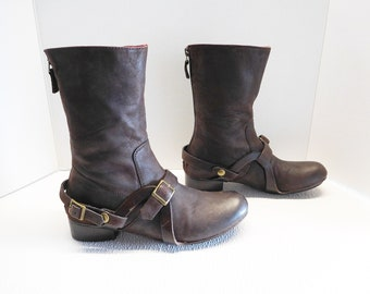 Women cowboy buckle strap brown boots size 37 US 7