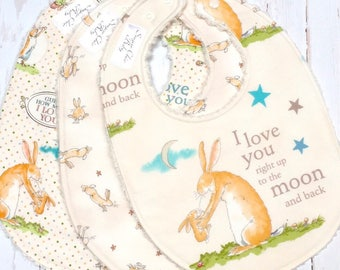 Ready To Ship - Love You Baby Bibs, Boy or Girl - Gender Neutral Bibs - Set of 3 Triple Layer Chenille - LOVE YOU to the MOON