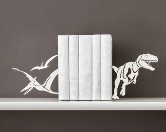 Book ends Dinosaurs Dino bookends T-Rex Metal bookend Book shelf decor Pterodactyl Kids bookends Jurassic park - white