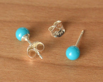 Natural Sleeping Beauty Turquoise, Sleeping Beauty Turquoise Earrings, Small 4 mm Turquoise Bead Studs, Sterling Silver post and earback