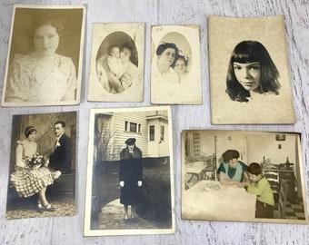 Vintage Sepia Toned Photos- OLD PHOTOGRAPHS- Everyday Life- Early 1900's- Woman- Portraits- Couple- Photo Lot- Black & White Photos- B49