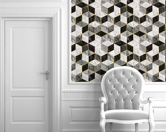 Carrera Marble Geometric Repositionable Peel N Stick Wallpaper