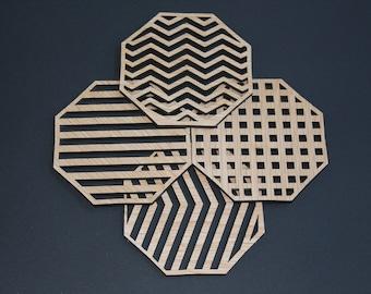 Laser Cut Coasters Set of 4 Lines Set