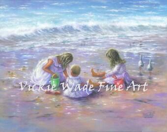 Three Beach Girls Art Print, beach children, three sisters, three blonde girls beach wall decor, Vickie Wade art