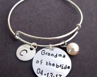 Grandma of the Bride bracelet,  Wedding Date Bracelet,Grandma of the Groom Nana of the Bride, Mother of the Groom Jewelry, Free Shipping USA