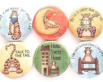 Cat Magnets, Funny, Cute Cats, Refrigerator Magnets, Cat Lady, Sassy, Cat Lover's Gift, Humorous, Cats, Sarcastic, Fridge Magnets, 6/Set