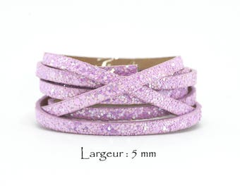 1.2 M - glitter - w leather cord: 5 mm / Ep. : 2 mm - lilac