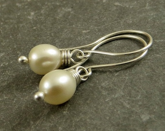 Freshwater Pearl Earrings Off White Pearls Budget Friendly Jewelry   Eco Friendly Gifts for Her