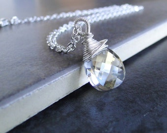Swarovski Crystal  Briolette, Wire Wrapped Necklace, On A Sterling Silver Chain (400B)