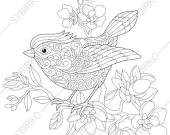 Spring Bird. Coloring Page. Animal coloring book pages for Adults. Instant Download Print