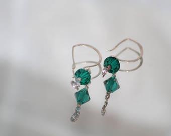 Sterling Silver Swarovski Green Crystal Earrings
