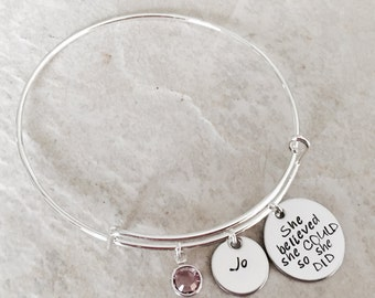 She believed she could so she did bracelet personalized bangle bracelet with name charm and birthstone encouragement graduation class of