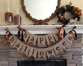 HAPPY HALLOWEEN burlap banner ~ HALLOWEEN burlap banner ~ decoration fall decor