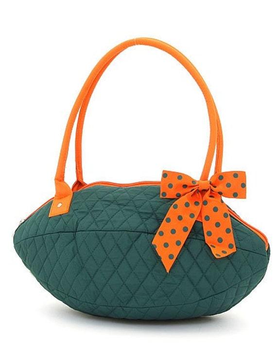 Matching 3 piece tote bag, hipster / messenger bag, + football shaped purse. Green + orange polkadot. Customize. Personalize. Monogram.