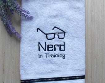 Nerd in Training Hand Towel - Nerd Bathroom Decor - Science Geek Bath Decor