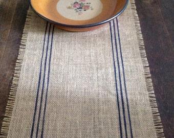 Burlap Table Runner Dark Blue Striped 12 14 X 102, 108 Or 120 Inch