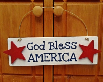 4th of July Sign, Wood Wire Sign, God Bless America, 4th of July Wood Decor, Fourth of July Hanging Sign, Wire Signs Wood, Patriotic Signs