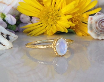 20% off-SALE!! Rainbow Moonstone Ring - Gold Ring - Slim Band - Gemstone Ring - Stacking Ring - June Birthstone - Simple Ring - Bezel Ring