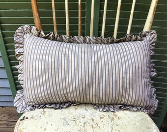 Handmade Oblong Ticking Pillow with Ruffle. Tea-stained Country blue Lumbar Pillow