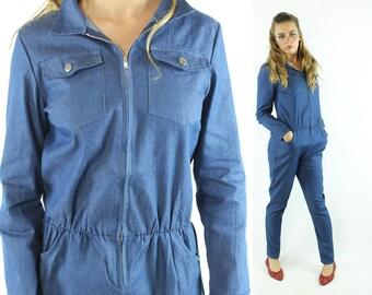 Vintage 80s Jumpsuit Long Sleeves Blue Denim Look Fabric Pants Romper 1980s Small S