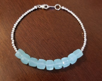 Aqua Chalcedony and Sterling Silver Bracelet