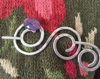 Hammered Shawl Pin Double Spiral with Genuine Amethyst