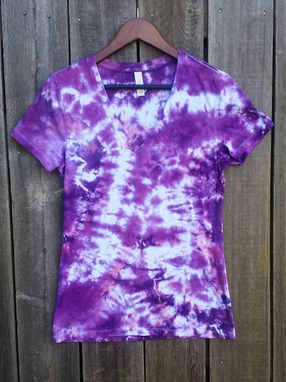 Tie Dye Shirt/Adult T-shirt/Short Sleeve/Purple, Lavender & Pink Design/Eco-Friendly Dying