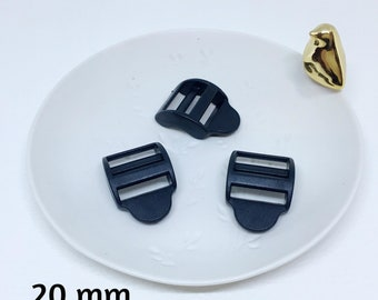 Plastic sliding buckle for strap 20 mm, 25 mm, 30 mm - black set 10
