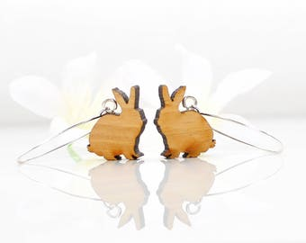Rabbit Earrings Funny Bunnies- Bunny Rabbit Jewelry- Bunny Earrings- Nature Jewelry Gift- Rabbit Lover Gift- Bunny Jewelry- Woodland Animal